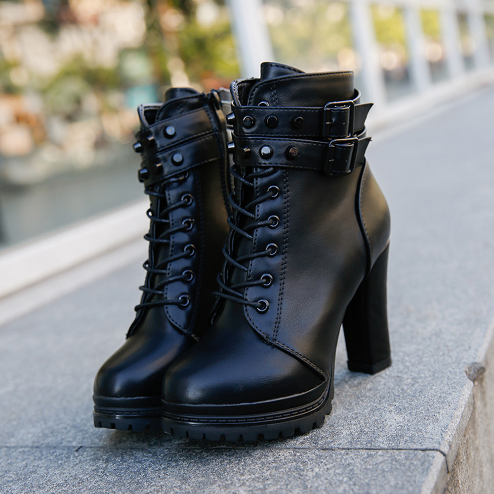YOUYEDIAN Women Boots 2018 Ankle Boots For Women Lace Up Square Heel Winter Shoes Casual Super High Heel Boots Botas Mujer 5