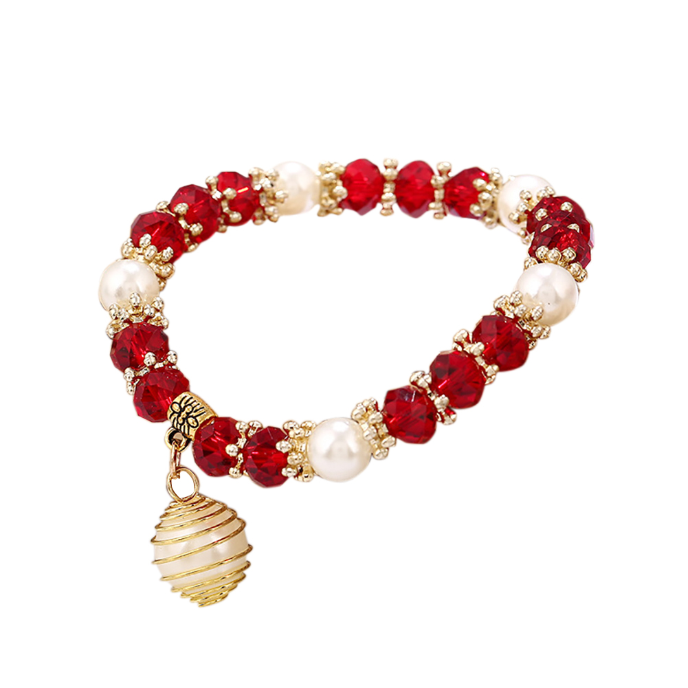 Women Beaded Bracelet Spiral Imitation Pearl Charm Pendant Elegant Jewelry Gift