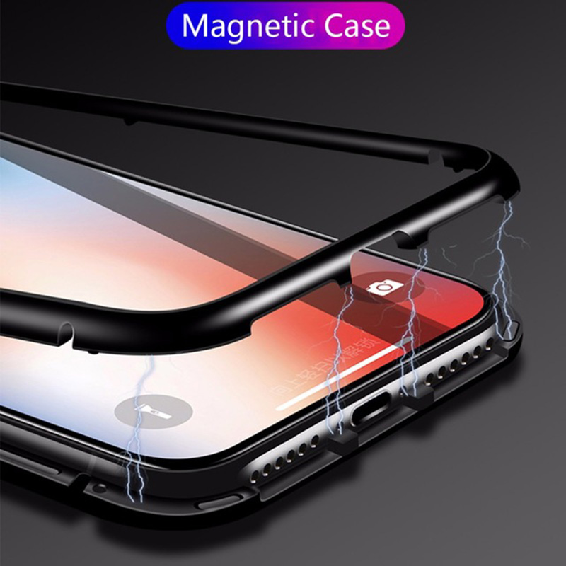 Magnetic Adsorption Metal Case for Samsung Galaxy S8 S9 Plus Note 8 Tempered Glass Back Cover for iPhone X 8 Plus Metal Bumper ...