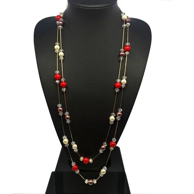 diseño de calidad 8a8d6 d55a1 US $15.78 |CNANIYA Brand Jewelry Women Crystal Bead Double Layer ABS Pearl  Necklace Long Collier De Perle/Collar Perlas/Bijuteria/Bisuteria-in Chain  ...