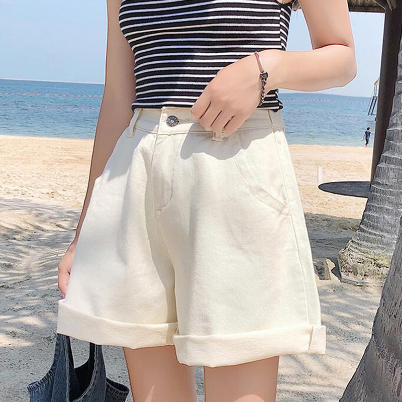 Women Summer Loose Beige Denim   Shorts   Female Plus Size 2019 Harajuku High Waist Elastic Wide Leg Korean   Shorts   Jeans