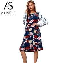 d0865cbbe845 Women Floral Striped Print Dress Side Pockets High Waist Long Sleeve Midi  Dress Party Wear 2019 Autumn Casual Dress One-Piece