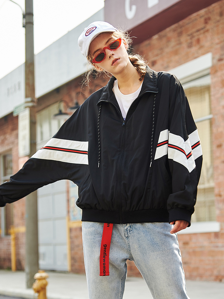 Spring Loose Couple Coat Style Female Pioneer Outerwear Brand Camp Patchwork New Fashion Ajk901070s Clothing Jacket Black Women E77IwRq8