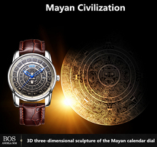 ANGELA BOS Retro Stereoscopic Maya Calendar Dial Stainless Steel Automatic Watch Mens Mechanical Swiss Luminous Luxury Watch Men