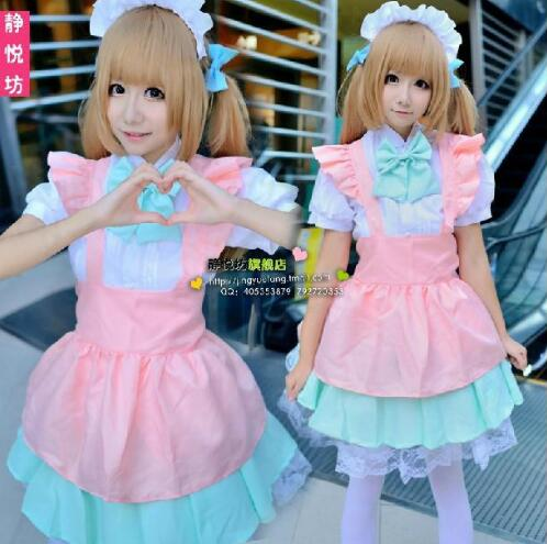 Anime Candy Color Japanese Lolita Maid Cosplay Costume Pink Princess COS Housewife House Servant Halloween Costumes anime cosplay lace lolita flower print halloween fancy dress gallus japanese kimono costume