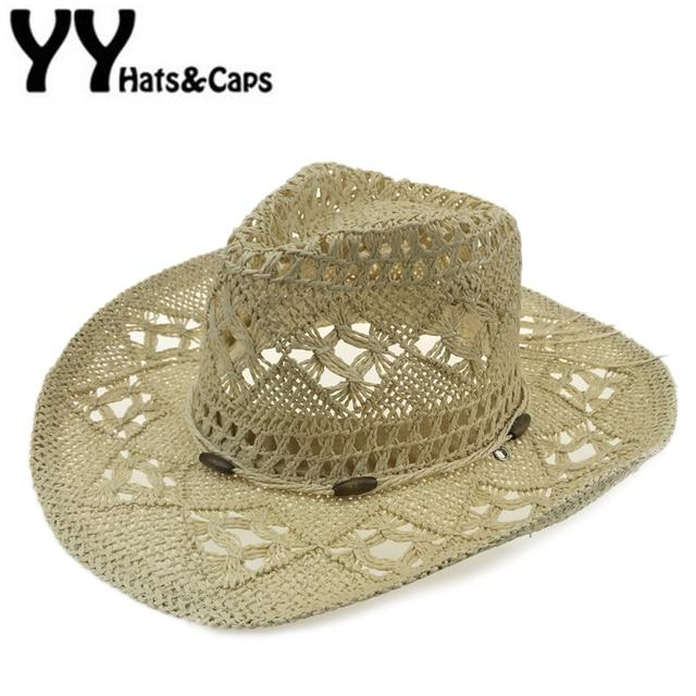 Sombreros de Vaquero occidentales Hombres Del Verano Sombrero de Paja  Cowboy Caps Sunhat Mujeres Holiday Beach c1e5c5e9aba