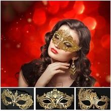 Mask Luxury Gold Crown Venetian Metal Laser Cut Wedding Masquerade Dance Cosplay Costume Party x