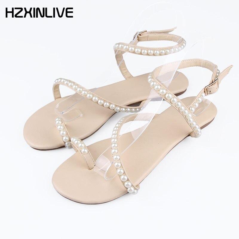 GOOB Handmade Sheepskin Pearl Decoration Apricot Elegant Casual Flat sandals Shoes Women designer shoes women 2018 Pearl sandals