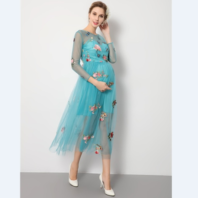 2017 Fashion Blue Embroidered Dress Pregnancy Photo Shoot ...