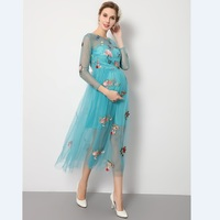 2017 Fashion Blue Embroidered Dress Pregnancy Photo Shoot Beach Dress Maternity Dress Pregnant Photography Props Fancy Clothing