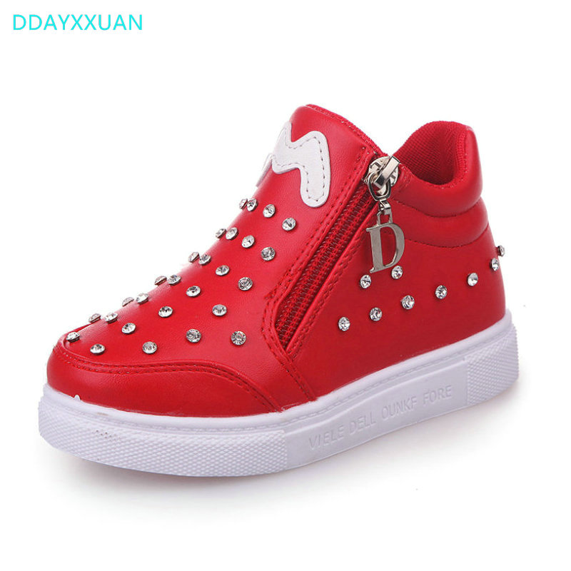 Girls Princess Shoes 2018 New Autumn Children Sneakers High-Top Kids Casual Shoes Rhinestones for Boys Martins Boots EU 21~30