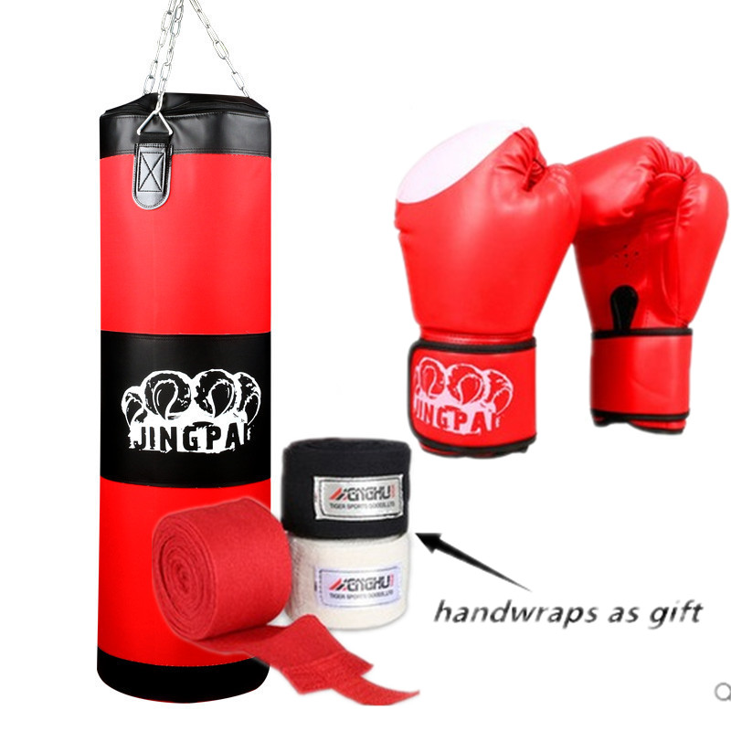 100cm Training MMA Boxing Bag Hook Hanging Kick Muay Thai Sanda Punching Bag Sandbag (Empty) With Boxing gloves Hand Bandage 10oz 12oz 14oz 16oz wholesale pretorian muay thai twins boxing red punching gloves tkd mma men fighting boxing gloves