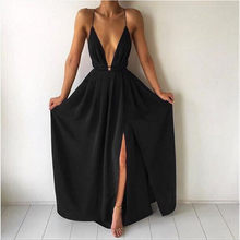 8fe4a0258da Women Chiffon Hater neck Maxi Dress Red Beach Boho Long Dress White  Bridesmaids Floor length Split Party Dresses Robe QC593