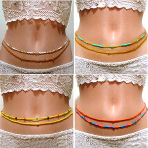 2020 Bohemia Double Bead Belt Body Chain Women Summer Sexy Bikini Beach Waist Chain Charms Vintage Dress Waistband Belts