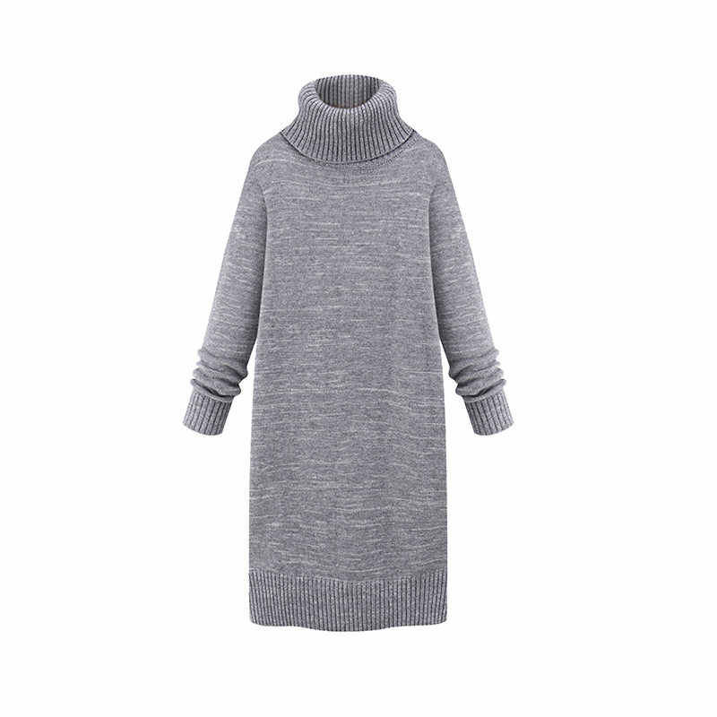 Autumn Winter Sweater Dress 2018 New Large Size Women Pullover High Collar Long Sleeve Thicken Warm Knit Sweater Dress LQ239