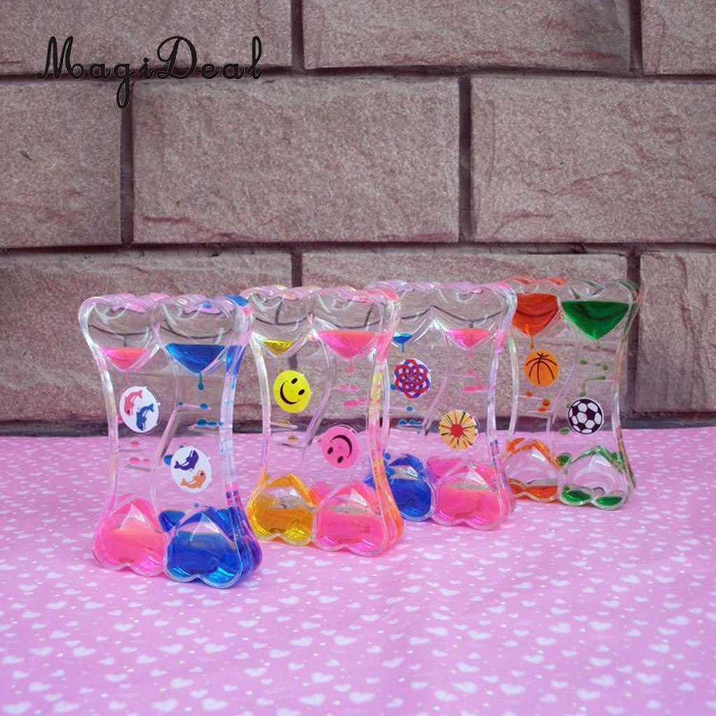 Floating Mix Illusion Double Heart Disc Oil Hourglass Sandglass Timer Desktop Motion Toys Home Ornament ...
