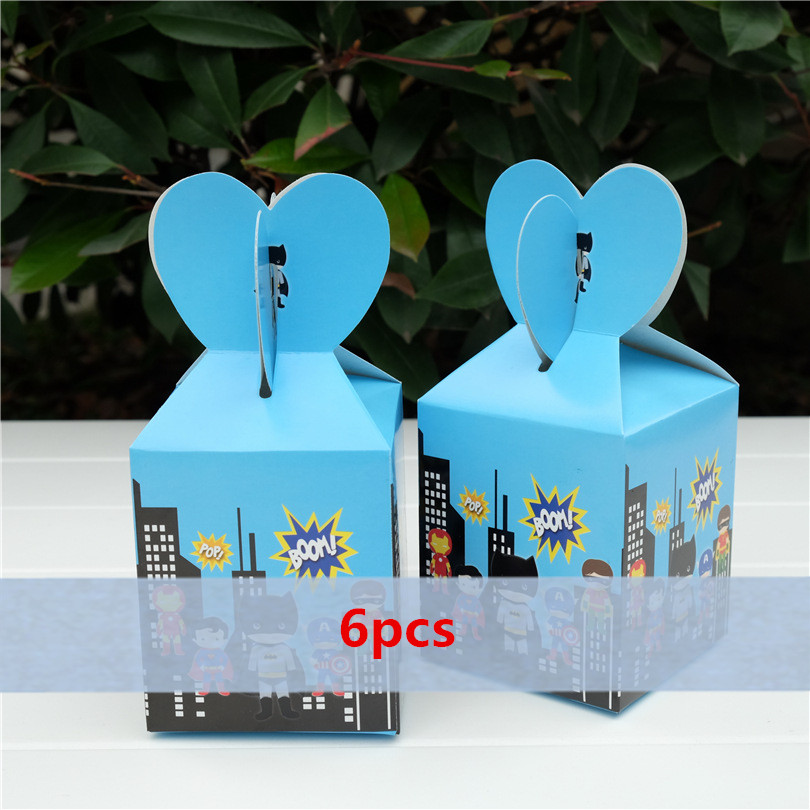 Baby Shower Favors Boxes and Bags Paper Present Box Small Gift Boxes Princess Superhero Candy Box Kids Birthday Party Supplies