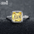 Effie Queen Luxury Princess Cut Yellow CZ Ring with Micro Paved Clear Zircon Platinum Plated Women Engagement Rings DR57