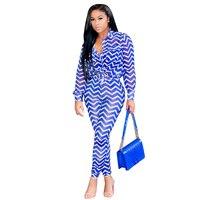 NEW Women Outfit 2018 Stripe Wave Long Sleeve 2 Pcs Set Skinny Pants Tops Ladies Suits