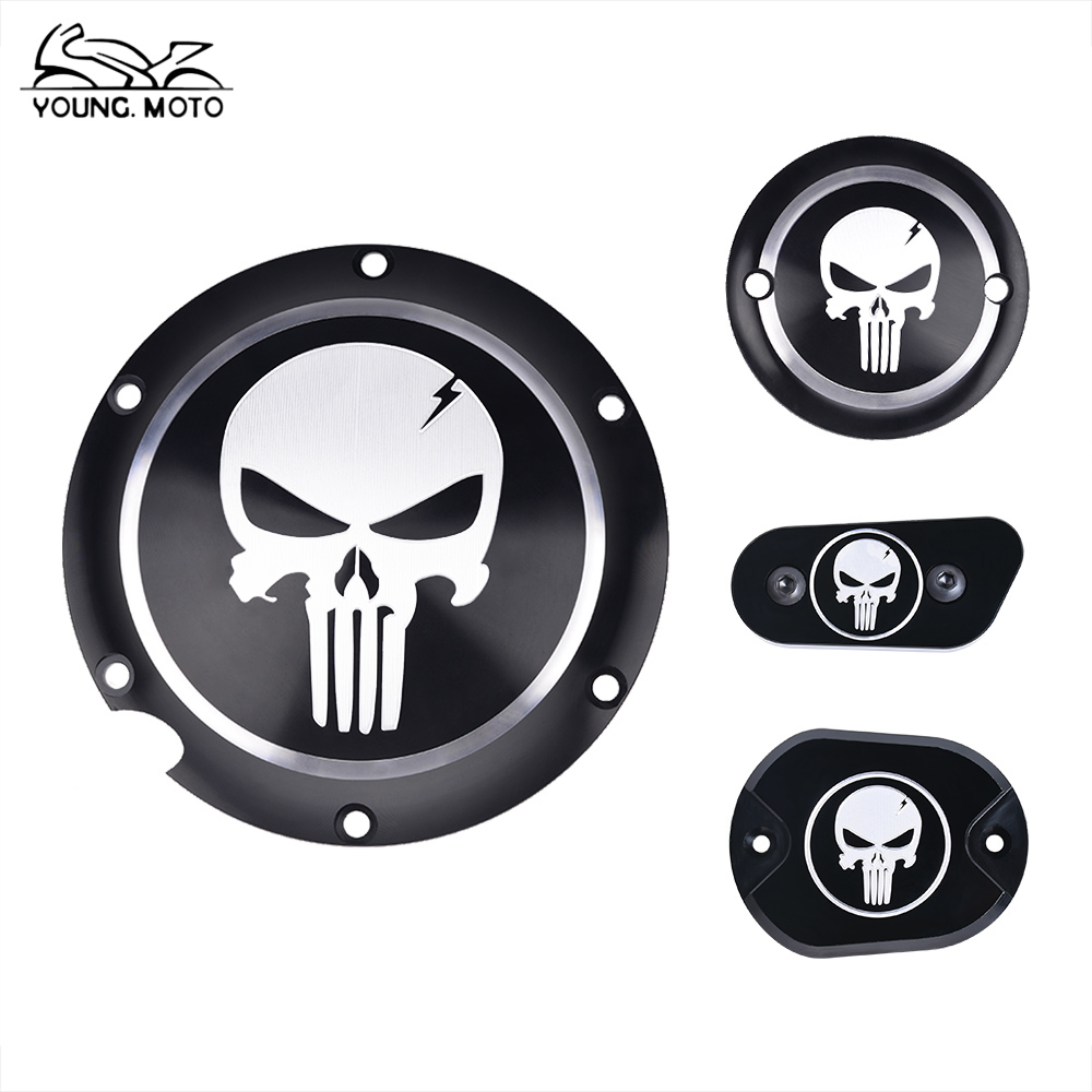 YOUNGMOTO CNC Aluminium Skull Clutch Timing Cover Derby Timer Cover Motorcycle Accessories For Harley Davidson Iron XL883 72