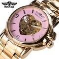 Hot Vender 2016 Mulheres Relógio Automático Vencedor Marca de Relógios Cinta Esporte Relógio Mecânico Moda de Luxo Da Marca Mulheres Relógios De Ouro