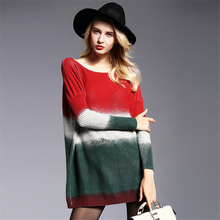 Woman Fall Sweater Long Sleeve Basic Multicolored Knitted Sweaters Women The new big size Europeloose wool blend sweaters Femme