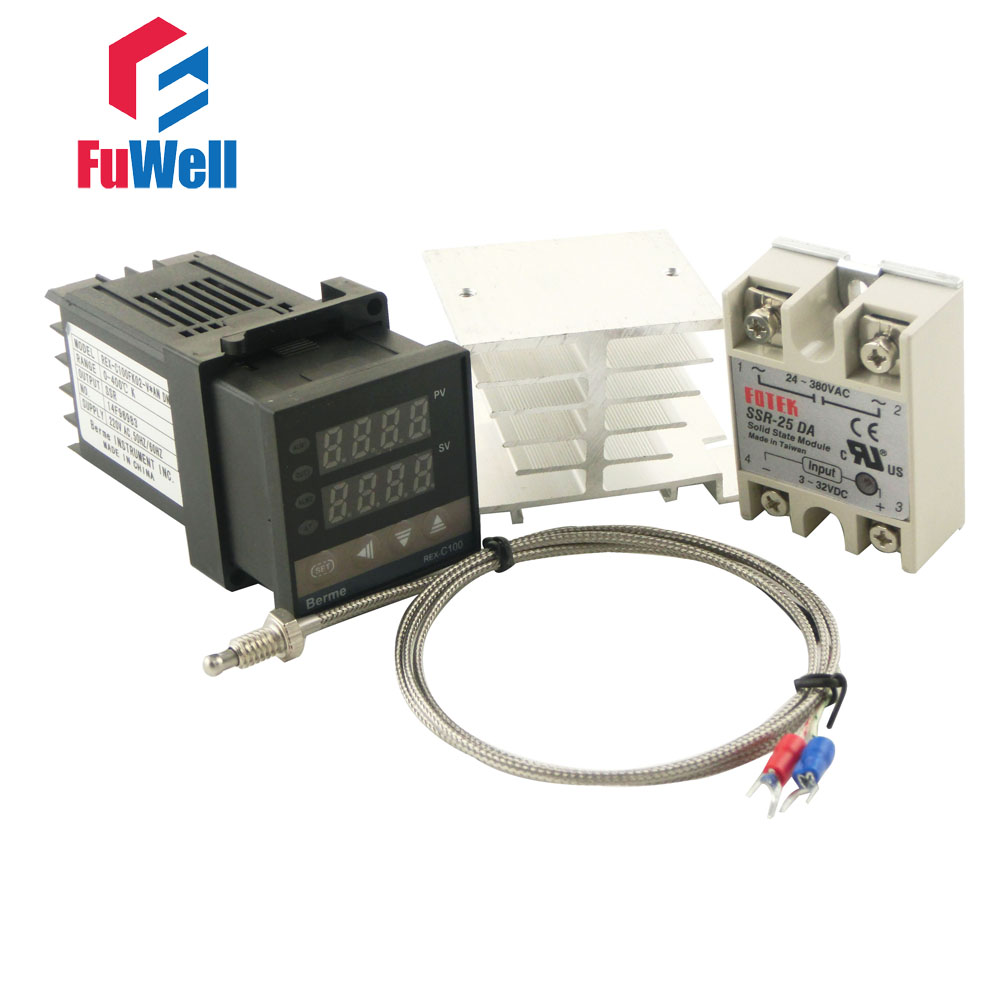 (Short Version 86x48x48mm) <font><b>REX</b></font>-<font><b>C100FK02</b></font>-<font><b>V*AN</b></font> PID Temperature Controller + Solid State Relay and Type K Thermocouple + Heat Sink image