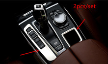 Left Hand Drive! For BMW X5 F15 2014 2015 2016 2017 Stainless Steel Interior Gear Button Cover+Storage Box Frame Trim 2pcs