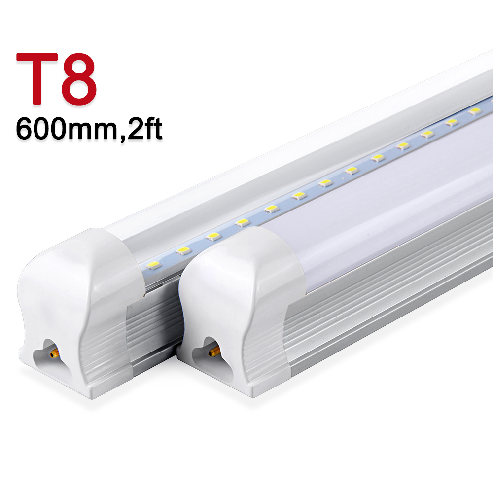 LED Bulb LED Tube T8  Integrated 600mm 10W 2FT LED Light 220V 240V SMD2835 Clear/Milky Cover  270 Degree Super Bright 1000lm 10 50 meters pack 1m per piece led aluminum profile slim 1m with milky diffuse or clear cover for led strips