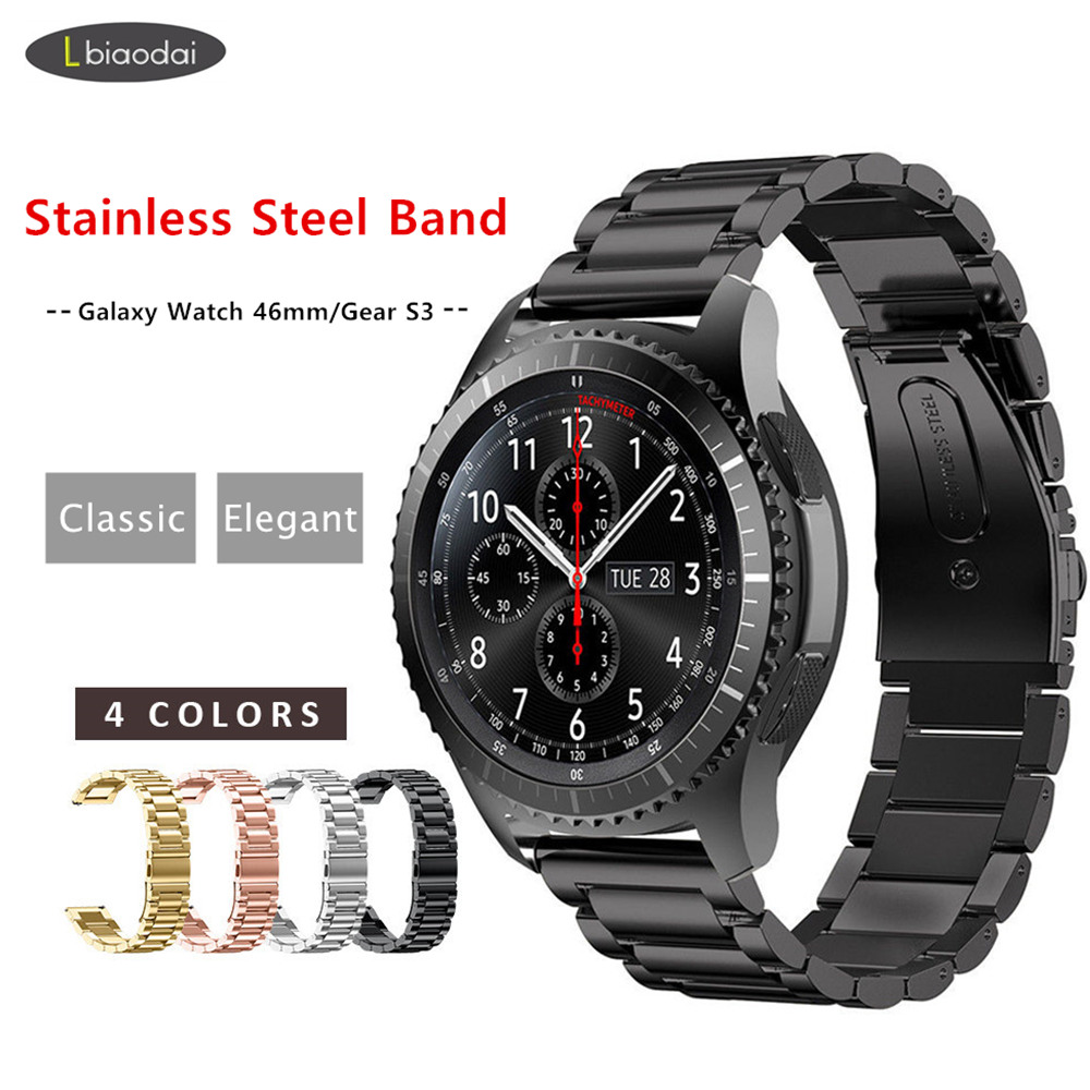 Metal Strap For Samsung Gear S3 Frontier/Galaxy Watch 46mm Band Smartwatch 22mm Stainless Steel Bracelet Huawei Watch GT S 3 46