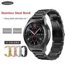 Pulseira de metal para samsung gear s3 fronteira banda smartwatch pulseira de aço inoxidável huawei relógio gt 2 cinta galaxy relógio 46mm s 3