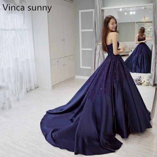 5156084dc3 Vinca sunny 2019 Navy blue Satin Long Prom Dresses with Lace ...