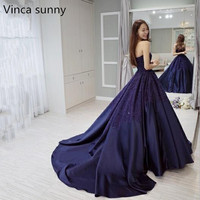 Vinca sunny 2018 Navy blue Satin Long Prom Dresses with Lace Applique Robe De Soiree New Evening Dresses Party Gowns