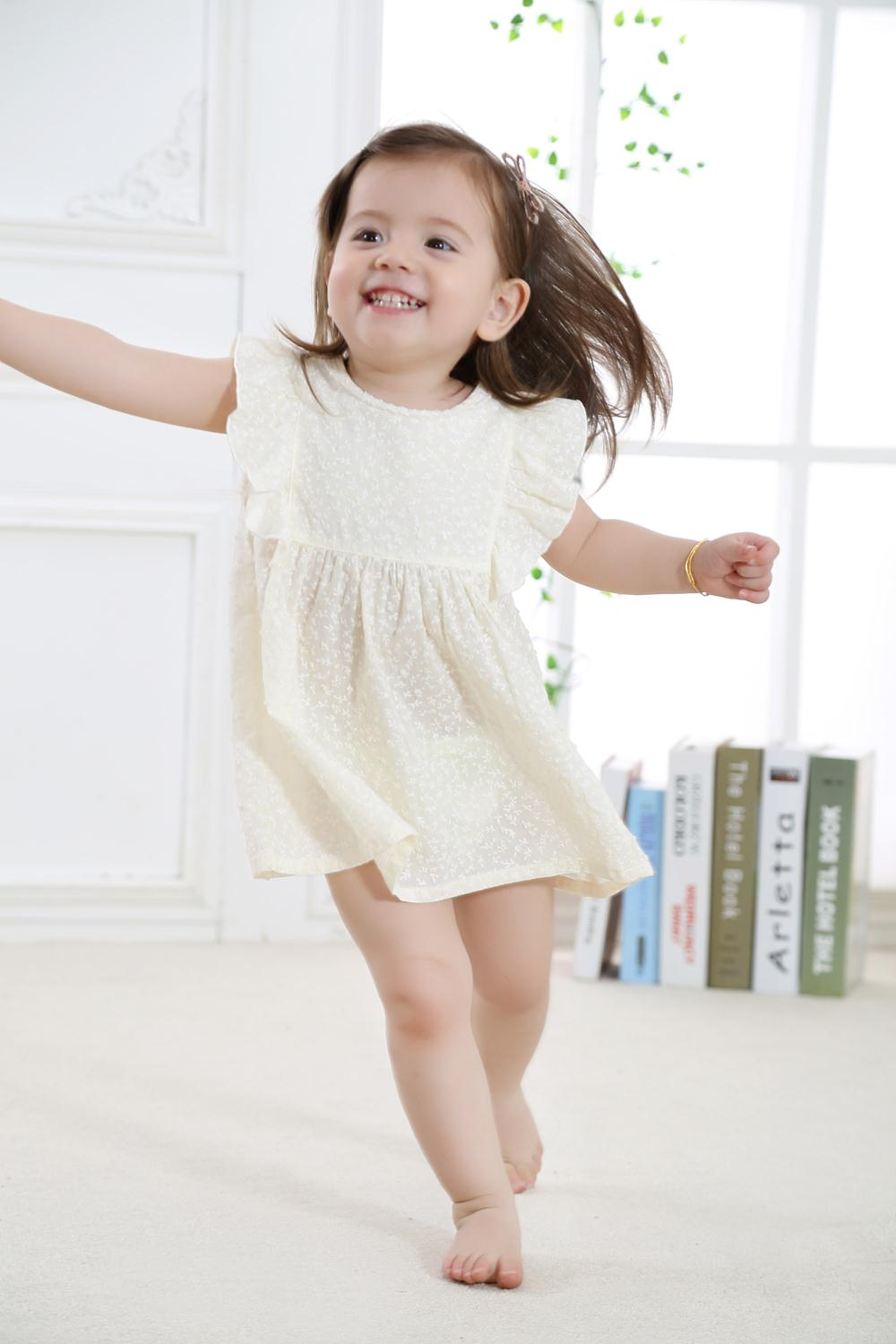 2018 New Fashion Cute Baby Girl Dress Toddler Girls Summer Wear with Printed Flowers in 100% Cotton