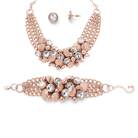 Palmbeach Jewelry 52263 Bezel-set Crystal Rose Gold-colored Collar Necklace Bracelet And Stud Earrings Set yoursfs twisted necklace and dangle stud earrings jewelry set for mother s day with solitaire austria crystal gift 18k white gol