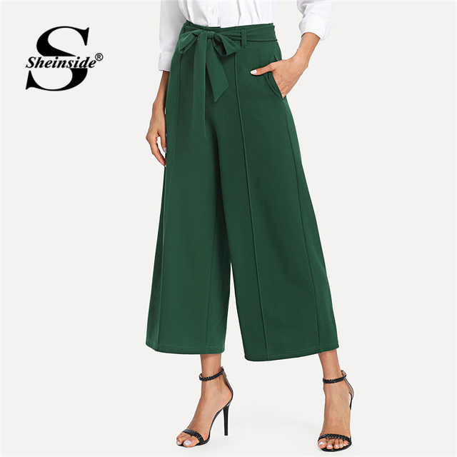 599b346f43 Sheinside Pocket Side Belted Culotte Pants 2018 Summer High Waist Wide Leg  Crop Pants Women Green Pleated Elegant Trousers
