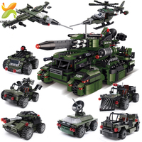 967PCS 8 in 1 Military Vehicles Truck Army Battle War Tank Model Juguetes Brinquedo Building Blocks Soldier Children Toys