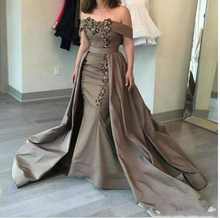 2018 Detachable Mother Of The Bride Dresses Off-Shoulder Sashes Sequins And Appliques Dresses Formal Evening Abiye Gece Elbisesi