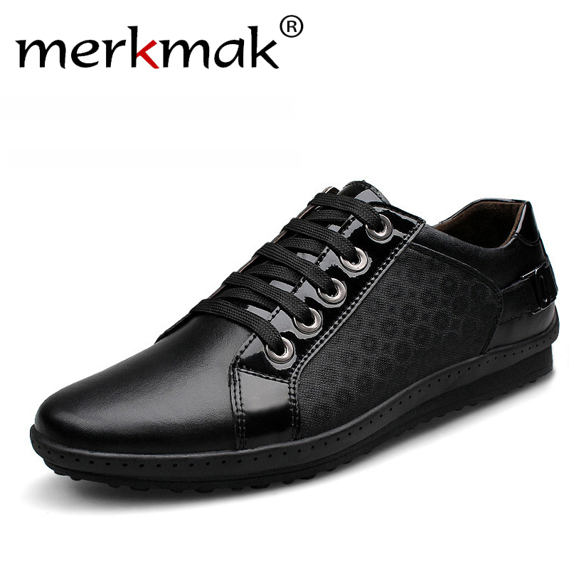 Merkmak New Brand Korean Casual Men Shoes Genuine Leather Lace Up Men's Fashion Sneakers Autumn Footwear Leather Big Size 37-44 men s shoes fall new casual men s leather comfortable korean version sub3147