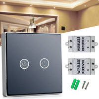 New Low Power Consumption Black AC100 240V Wireless Remote Control Touch Wall Lamp Light Switch Set
