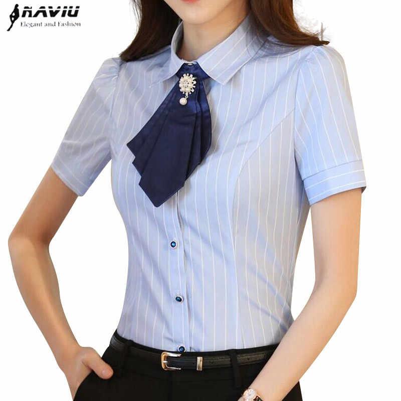c75aa2fd14af3c2 ... Модные элегантные галстук-бабочка Для женщин рубашка ПР лето  официального стиля с коротким рукавом тонкий ...