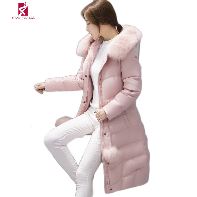 2016 New  Winter Long Style Down Jackets  Women Fox Fur Collar  Long Down Coat Thick  Fashion Winter Jacket For Ladies CYRF005