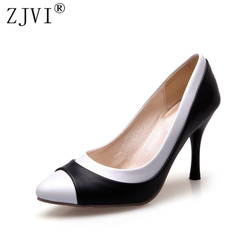 ZJVI naine moe terav varba Õhuke kõrged kontsad pumbad 2018 naised mustvalge segatud värvid suvine sügis kingad naiste töö Pumbad