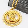 Inlay zircon pingentes Hiphop Alta Qualidade banhado a ouro pedaço Jesus spinner 70 cm Longa cadeia Cubano colar declaração homens Jóias
