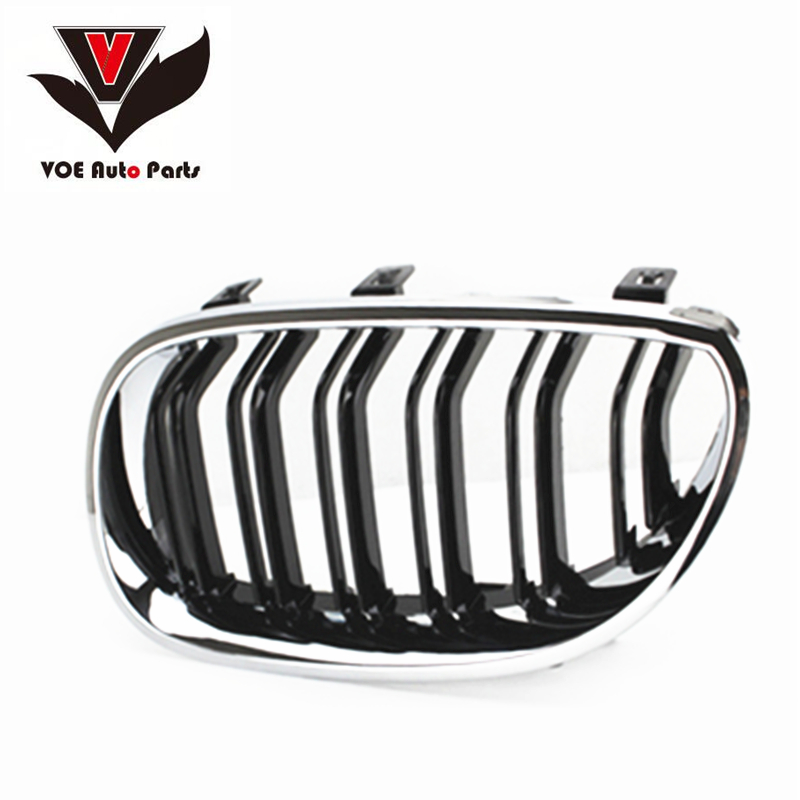 E60 M5 Design Kidney ABS Plastic Chrome Gloss Black Car-Styling Front Racing Grill Grille for BMW E60 5 Series 2004-2009 e60 abs front kidney grille grill for bmw 5 series e60 2004 2009 sedan e61 hatchback 1 slat 2 slat 535i 545i
