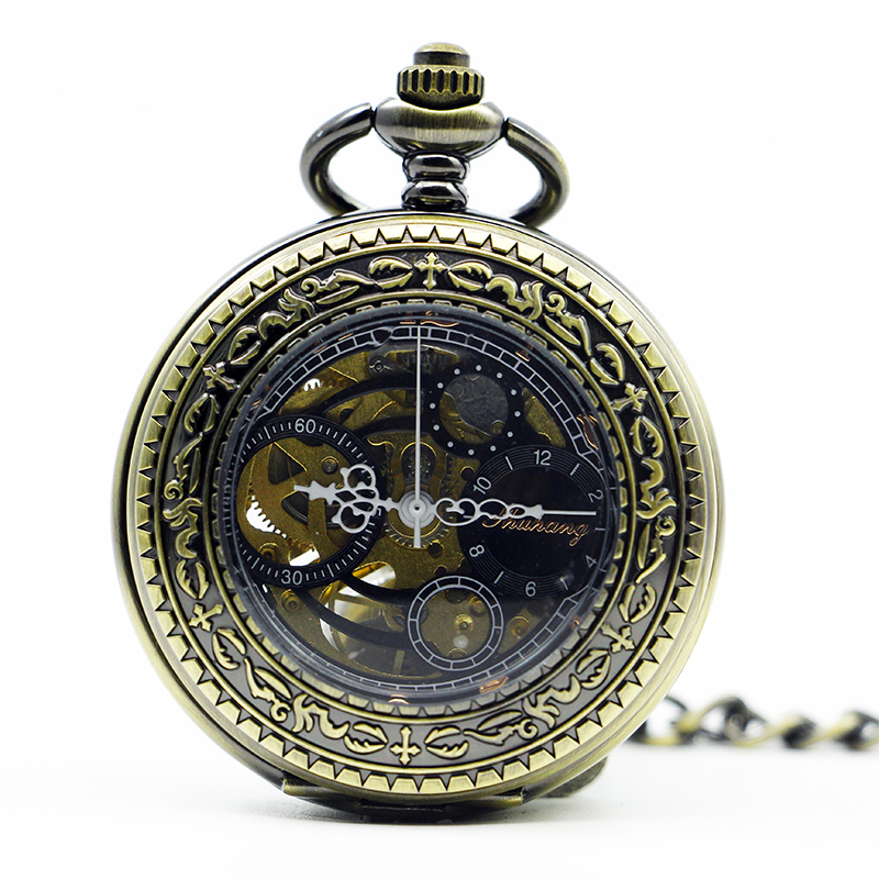 Luxury Bronze Antique&Vintage Mechanical Pocket Watch Mens Carving Fashion Automatic Exquisite Fob Chain Watch Gift PJX1287