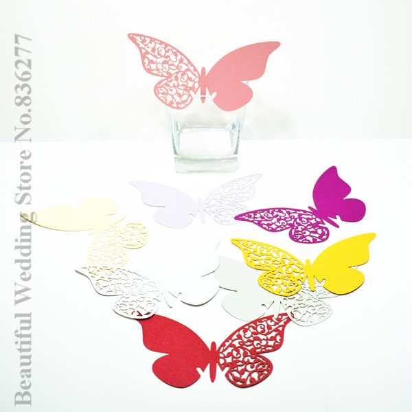 60pcslot Butterfly Place Card Cup Paper Card Table Mark Wine Glass