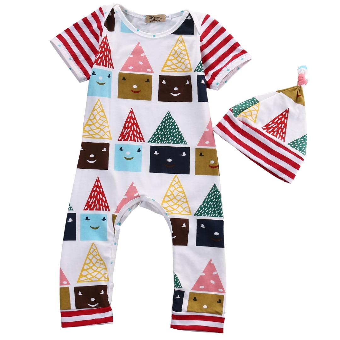 49acfae7a 2Pcs Infant Baby Boy Girl Little Cartoon houses Romper Sets Babies ...