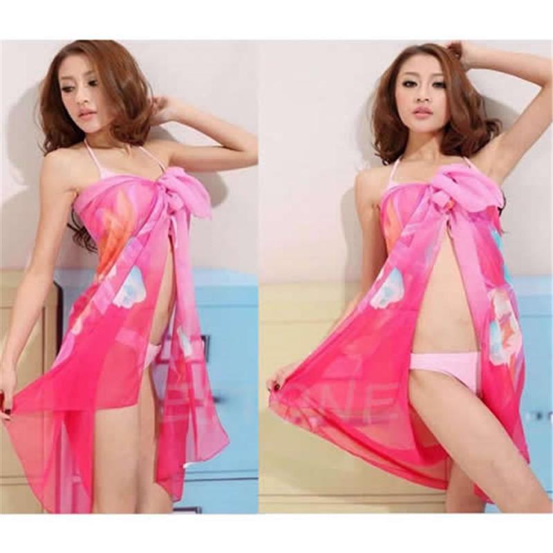 KLV 1pc Sexy Ladies Bikini Swimwear Cover Chiffon Wrap Dress Pareo Sarong Beach Up Scarf