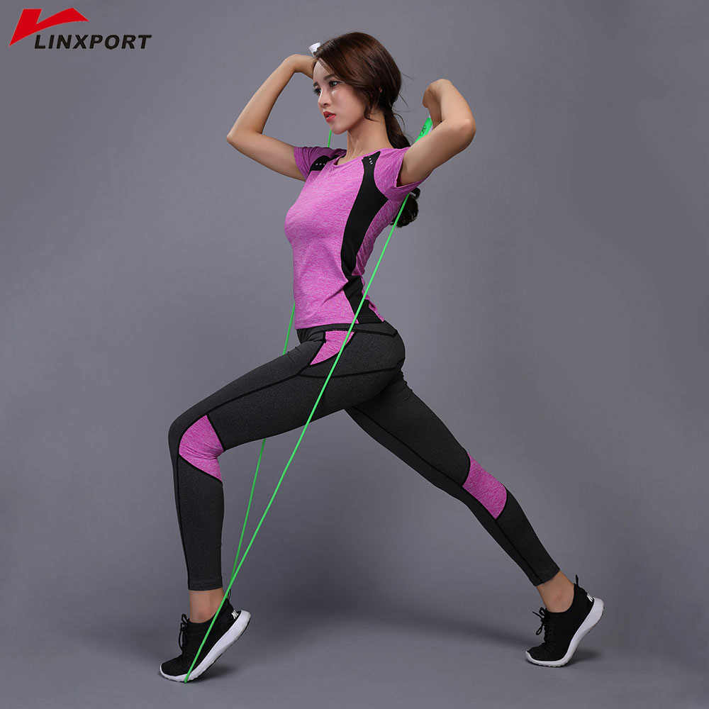 47bcecd5034 Sexy Yoga Set Compressed Leggings Gym Fitness Clothes Tennis Shirt+Pants  Plus Size Sport Suit